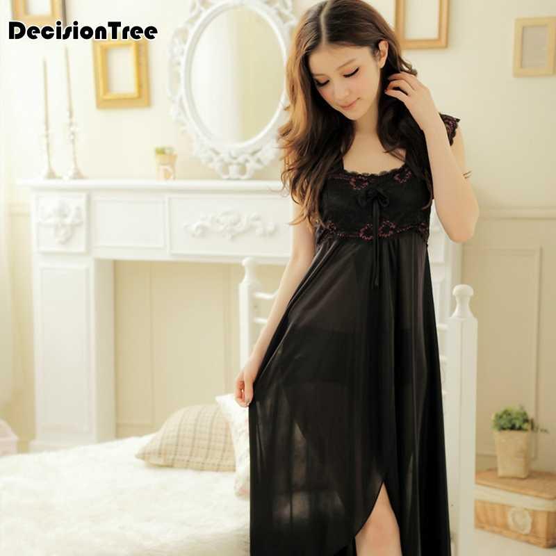 3764f7b466dd 2019 new style sexy embroidered night dress silk lace nightie sleepwear  babydolls women s dresses shirt pyjamas