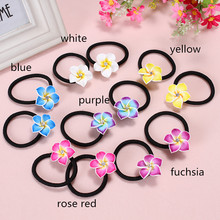 2 pairs 4pcs/lot Cute 30mm Hawaiian Polymer Clay Fimo Plumeria Flowers Elastic Hair Bands Clip For Holiday Headdress Accessories