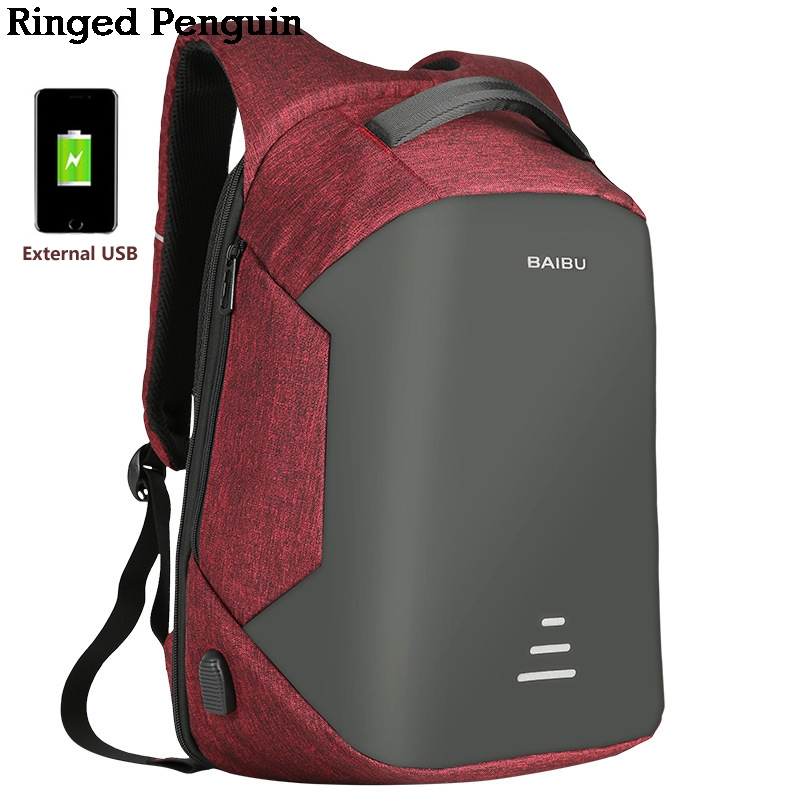 Ringed Penguin Laptop Backpack Anti Theft Backpack With Usb Charging Men School Notebook Bag Oxford Waterproof Travel Backpack<br>