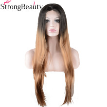 StrongBeauty Long Silky Straight Strawberry Blonde Wig Synthetic Ombre Black to Gold Brown Lace Front Wig for Black Women(China)