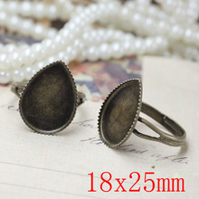 200pcs Antique Brass Pad Open Adjustable RING teardrop Base Cabochon Size:18x25mm,Ring base beads