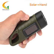 rechargeable torch LED solar flashlight Hand Crank mini led lights flashlight Keychain led camping lantern 3LED light