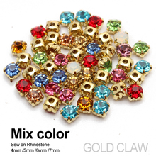 Sew on Rhinestone 10 color Mixed 4mm/5mm/6mm/7mm Gold claw base crystal stones use for DIY accessories