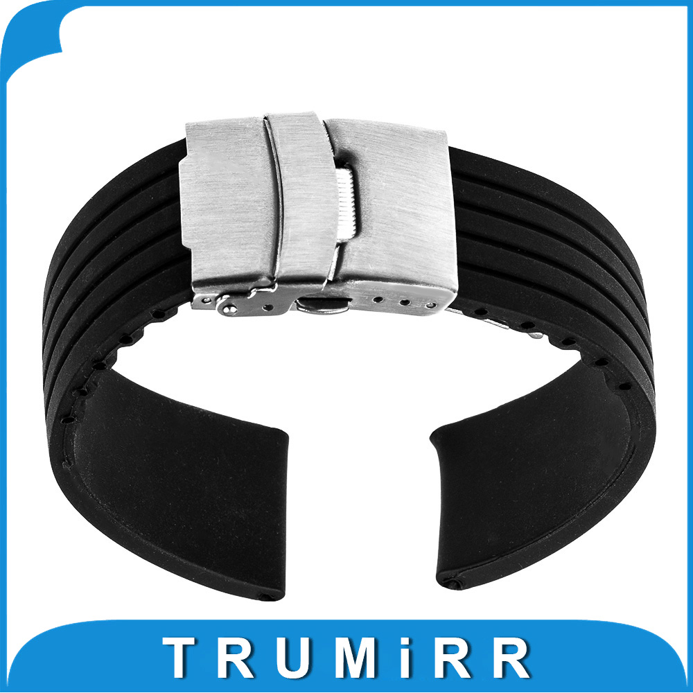 20mm Silicone Rubber Watch Band for Pebble Time Round 20mm Bradley Timepiece Stainless Steel Buckle Strap Resin Bracelet Black<br><br>Aliexpress