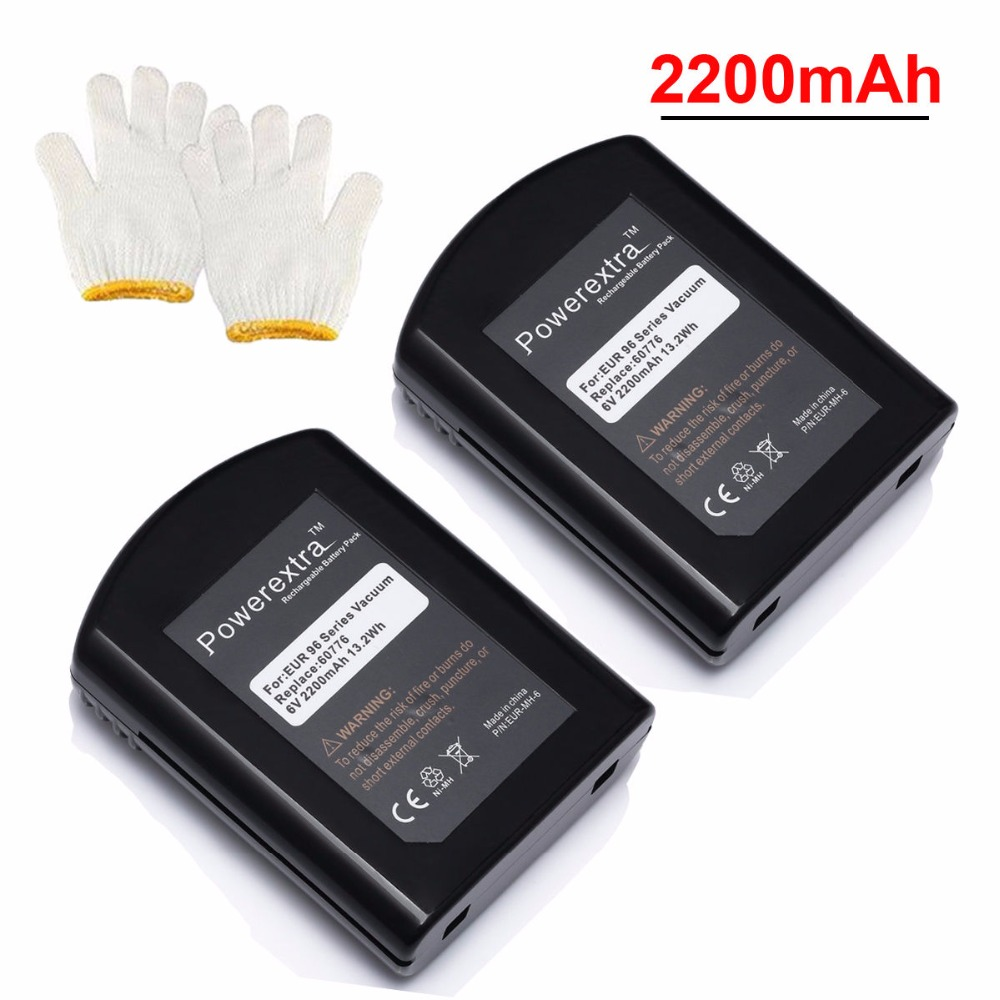 2pcs Powerextra 2200mAh Replacement NI-MH Battery For Eureka Vacuum Cleaner 60776 39150 96 Series 96H 96A 96B 96D 96JZ(China (Mainland))