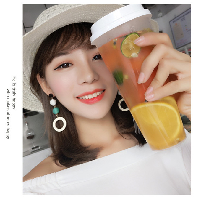 Fashion Korean Net Red Earrings Girls Retro Temperament Linen Hemp Rope Hit Color Ball Earrings Round Circle Wood Earring 17