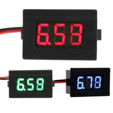 1 PCS 2 Wires 0.36 inch Digital Voltmeter DC4.5-30V Blue/Red/Green LED Vehicles Motor Voltage Panel Meter LED Voltmeter Tools