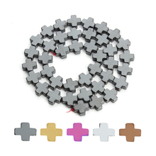 38pcs/lot 10*10mm Natural 5 Colors Hematite Cross Beads For Jewelry Making Loose Spacer Beads Bracelet Necklace Findings F3754