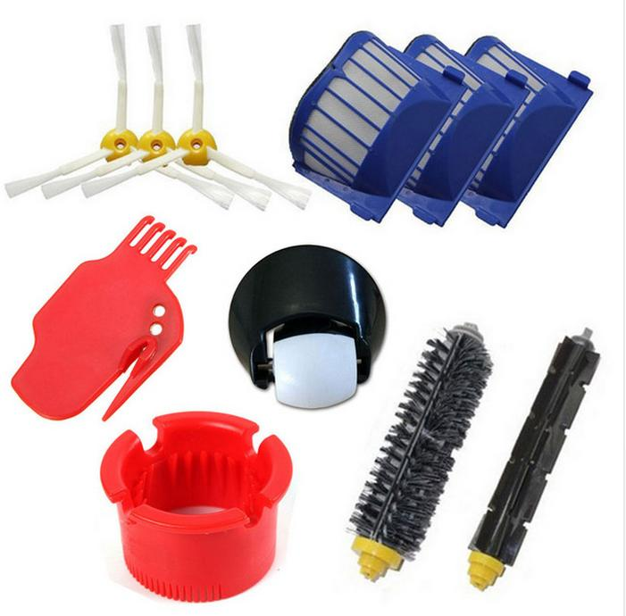 AeroVac Filter + side brush + steering wheel +clean tool kit for iRobot Roomba 600 Series 595 620 630 650 660 replacement<br>