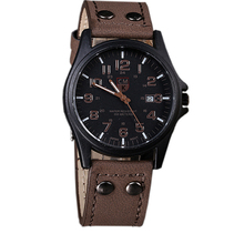 fashion New Arrival Vintage Classic Men's Date Leather Strap watches Sport Quartz Watch Military brand Wristwatch
