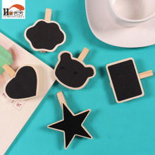 1 pcs Mini chalkboard desktop figurines, wooden message note clip to clip pictures photo holder Home decor Arts crafts gift