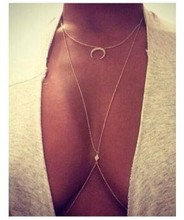 2015 1pc new  fashion jewelry simple silver color moon crystal delicate sexy body chains womens waist chain beach cadeia corpo