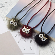 Buy Long Leather Rope Chain Fur Pompom Owl Pendant Necklace Women Girls Winter Sweater Chain Choker Jewelry Accessories for $1.49 in AliExpress store