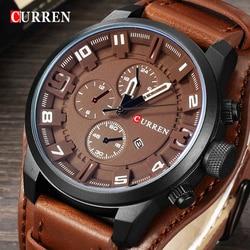 CURREN 8225 мужские водонепроницаемые часы лучший бренд роскошный календарь модные мужские часы кожаные спортивные мужские армейские часы Прям...