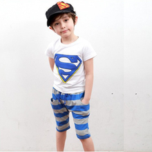 2-7years Summer Boy clothes Mickey Children Clothing sets top+pant cotton superman t-shirts&pants kids clothes baby boy clothes