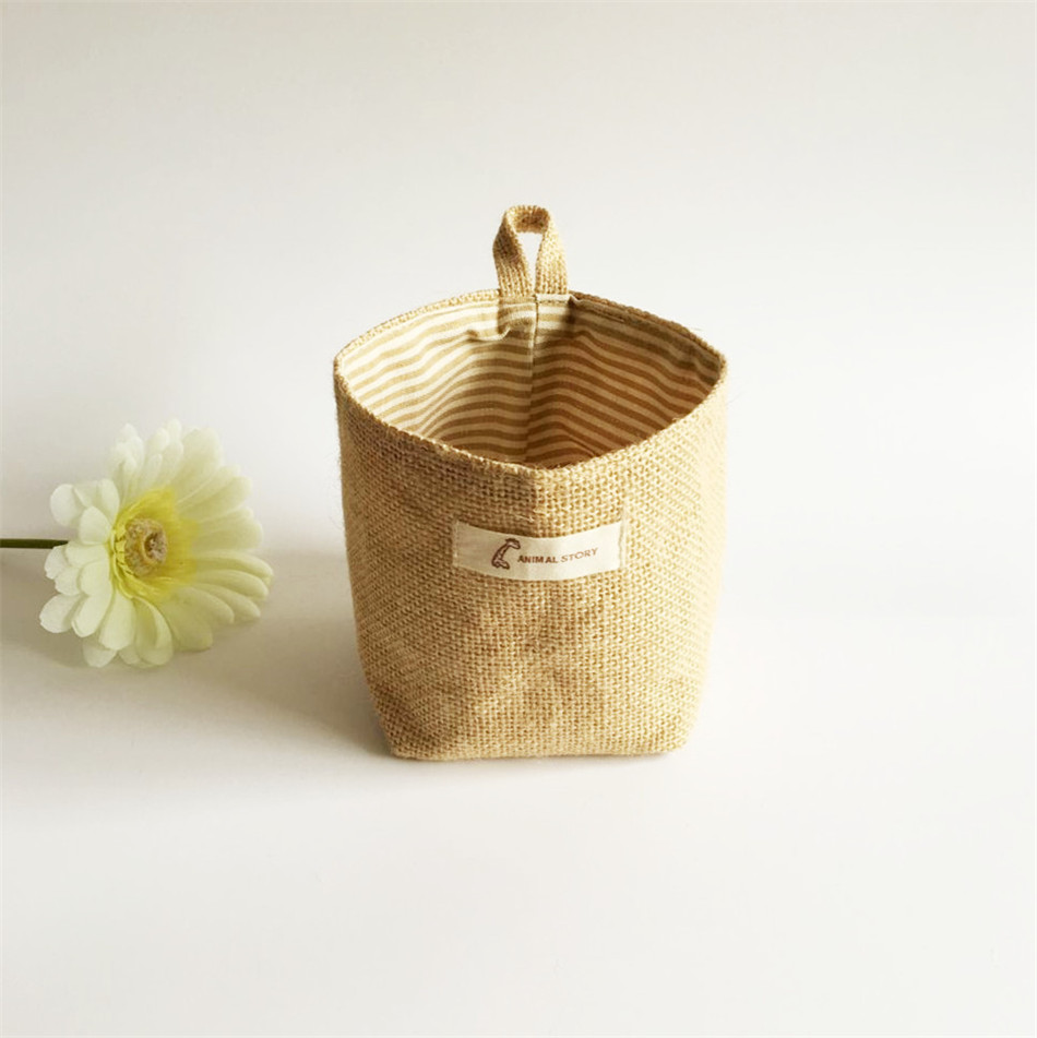 Linen Woven Storage Basket Polka Dot Small Storage Sack Cloth Hanging Non Woven Storage Basket Buckets Bags Kids Toy Box (11)