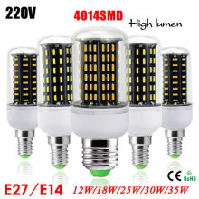 1Pcs Ultra High luminous flux 4014 SMD E27 E14 12W 18W 25W 30W 35W LED Corn lamp Chandelier AC220V High Quality LED bulbs light