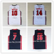 Retro #7 larry bird #12 John Stockton #15 Magic Johnson #10 Clyde Drexler 13 Chris Mullin 1992 dream team USA Basketball Jersey