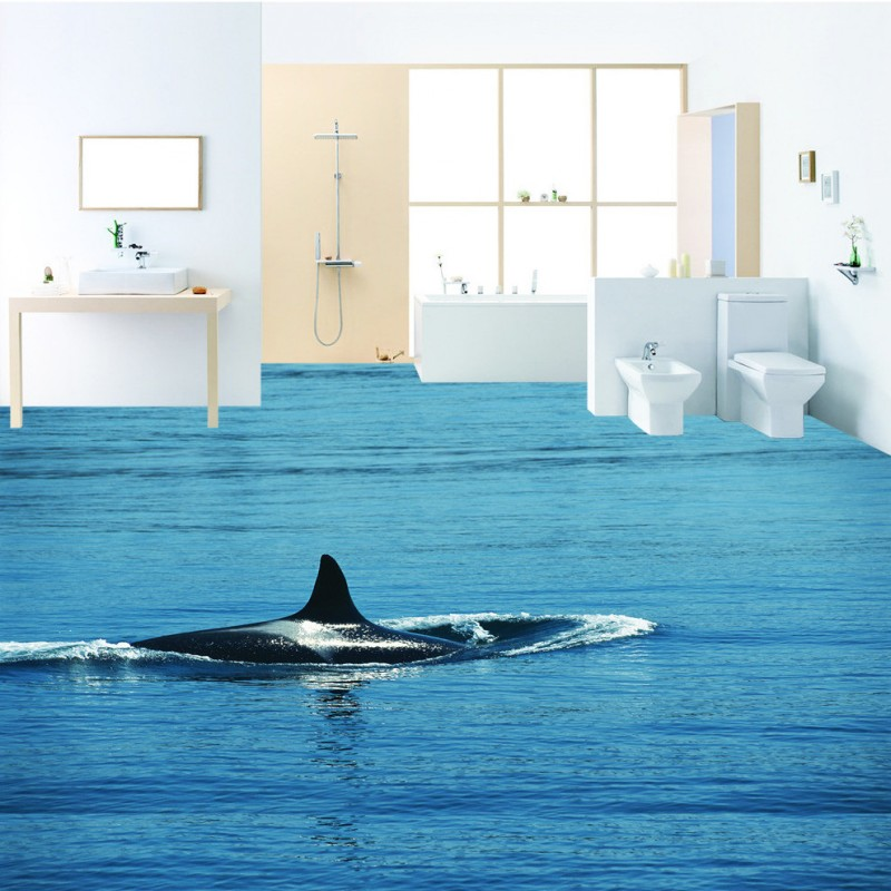 Free Shipping Water whale 3D floor non-slip thickened living room bathroom square bedroom kitchen office lobby flooring mural<br>