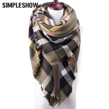 2017 New Winter Scarf For Women Plaid Blanket Scarf Luxury Shawl Warm Scarf Women Pashmina Scarves Soft Female Beach Towel Large