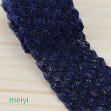 3 Yard Navy Blue 6 Row 3D Rose Flower Embroidered Lace Trim Ribbon Fabric Sewing Craft For Costume Headdress Hat Decoration(China)