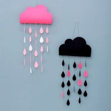 Lovely clouds raindrops DIY Felt ornaments party supplies children room nursery Decoration Birthday Party Garland window hanging