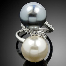Classic Simple White Gold Rings White and Gray Analog Pearl Rings Fashionable Women Engagement Wedding Jewelry Wholesale
