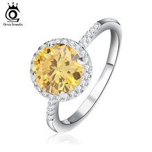 ORSA JEWELS 2 ct Yellow Imitated Cubic Zirconia Ring with Micro Pave CZ 2017 Charming Silver Color Ring for Anniversary OR54