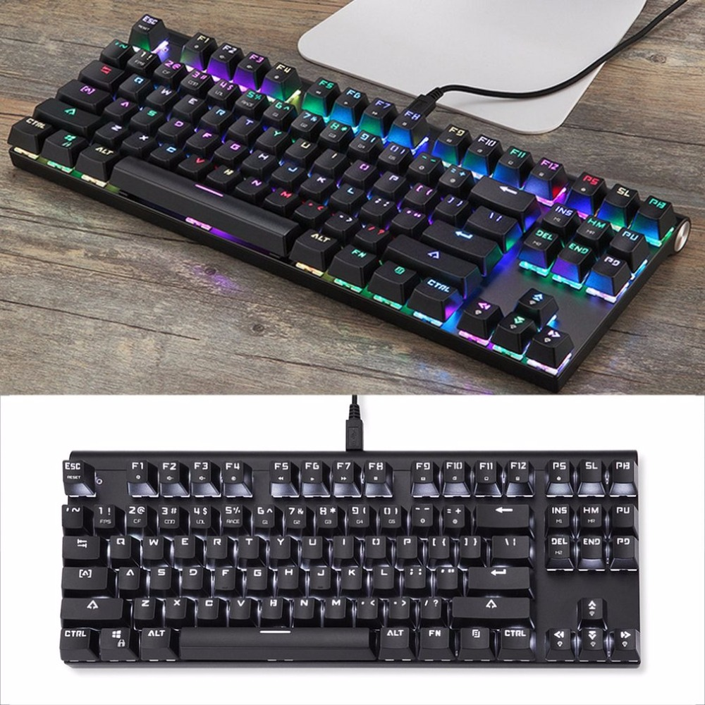 Motospeed CK101 Wired Mechanical Keyboard Metal 87 Keys RGB Blue Red Switch Game keyboard LED Backlit Anti-Ghosting for Computer