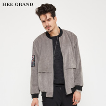 HEE GRAND Men Stylish Jacket 2017 New Arrival Stand Collar Warm Padded Rib Sleeve Outwear Plus Size M-5XL MWJ2155