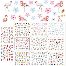 12 Designs One sheet Flamingo 3D Decals Sets Flower Crown Scenery Pendant Lips Eyes Diamond Nail Sticker Nail Art Decor