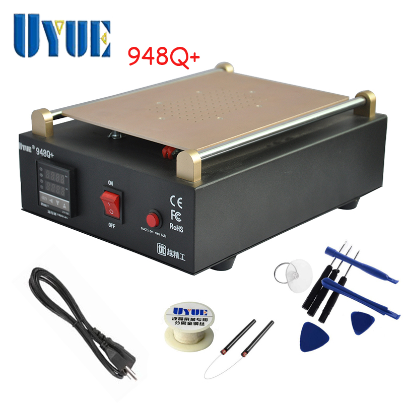 UYUE 948Q+ Built-in Vacuum Pump Mobile phone LCD Screen Separator Machine Max 11 inches Lens Glass Repair + 100m Cutting Wire