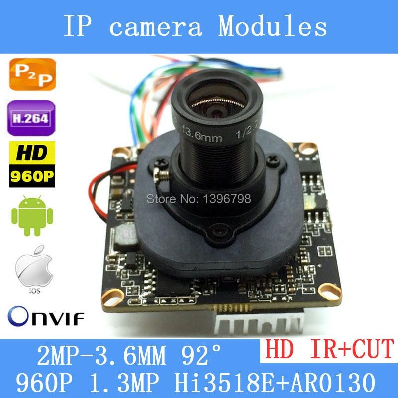 HD IP Camera Module 960P 1.3MP CCTV PCB Main Board Hi3518E 3.6mm 1080p lens+ IR Cut<br><br>Aliexpress