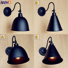 IWHD Black Arm Antique Vintage Wall Light Fixtures Home Lighting Loft Style Industrial Wall Sconce Lamp Lampara Pared(China)