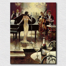 Spare music woman oil painting on canvas pictures on the wall decorative wall art for friends gift high quality(China)