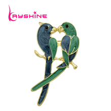 Kayshine New Jewelry Luxury Brooch Gold-Color with Green Enamel Couple Parrot Brooches for Lady Fashion Accessories