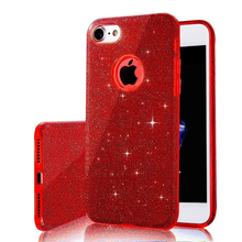 3 IN 1 Gradient Glitter Cover for iphone 6 plus 6s plus Case Clear PC+TPU Coque 7 7 plus Cases Bling Fashion