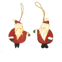 Christmas tree decorations gift 1 pair wood Santa Claus 12.5cm*9cm tree hanging wall door cheap christmas ornament