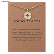 Fashion Jewelry Gold-color Going Places Compass Disc Chain Necklace Women(China)