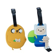 Two Type Adventure Time Jake Creative Silicone Luggage Tag Pendants Hang Tags Tourist Products Toy Figure 1pc