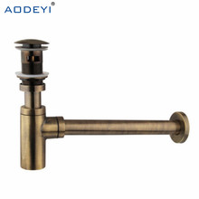 Brass Antique Bronze Bathroom Basin Sink Tap Bottle Trap Drain Kit Waste P-TRAP Pop Up Drain with Overflow
