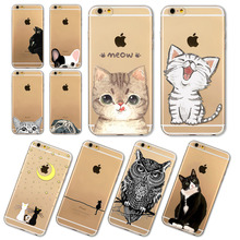 Phone Cases For Apple iPhone 6 6S Plus 6Plus 4 4S 5 5S SE 5C Soft Silicon Transparent Cute Cat Dog Owl Animal Cover Case Capa