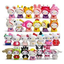 26pcs/lot Mini cartoon colorful hello kitty action figures decoration toys micro landscape dolls gifts for children(China)