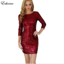 Shiny Gold Sequin Dress New Style Summer Women O-Neck Long Sleeve Paillette Sequins Backless Bodycon Mini Dresses Top Quality