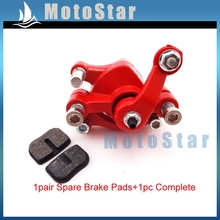 Bike Gas Scooter Kids Quad Minimto Red Front Right Side Disc Brake Caliper + Pads For 2 Stroke Mini Gas Electric Go Kart(China)