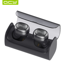 QCY Q29 Mini Dual V4.1 Wireless Earbuds Bluetooth Headphones with Charging Case Stereo Music Time Built Mic for all Smartphones