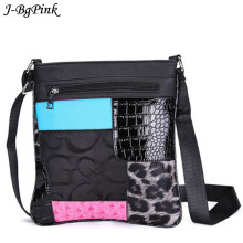J-BgPink Hot New Brand Designer Women Messenger Bags Crossbody Patchwork PU Leather Shoulder Bags LBolsasadies Designer Handbags