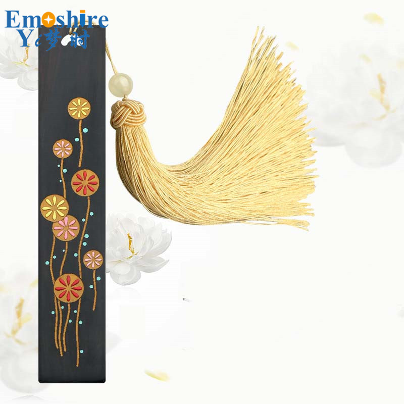 Hand-painted Classical Chinese Romantic Bookmark Ebony Wood Bookmark exquisite Gift Creative Bookmark for Business Gift M099<br>