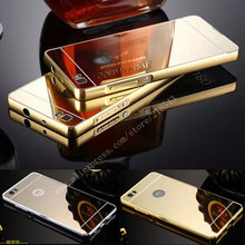 For Huawei P8 Lite Case NEW Luxury Gold Silver Plating Aluminum Frame + Mirror Acrylic Back Cover for Huawei P8 Lite Phone Cases