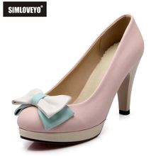 SIMLOVEYO Big size 33~43 PU Women's shoes High heels Ladies pumps Sale on shoes Bowtie Fashion Sweet White Blue Pink Beige Sale